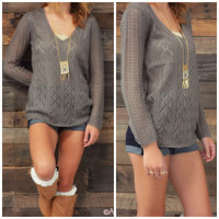 Lookout Mountain Charcoal Knit Sweater