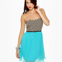Cute Aqua Blue Dress - Print Dress - Chevron Dress - $41.00