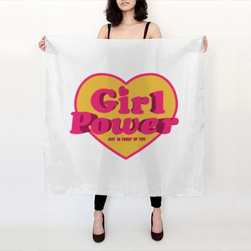 Big Scarf Girl Power Heart Shaped Typographic Design Quote by Daniel Ferreira-Leites (Big Square Scarf (36