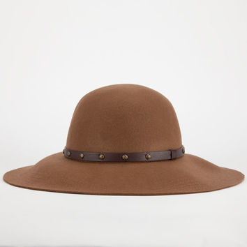 Studded Band Felt Floppy Hat Brown One Size For Women 24213540001