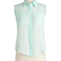 Mint Marshmallows Top | Mod Retro Vintage Short Sleeve Shirts | ModCloth.com