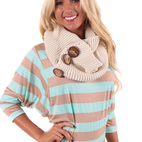 Ivory Button Infinity Scarf