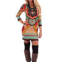 Multi Color Ethnic Print Sweater Dress