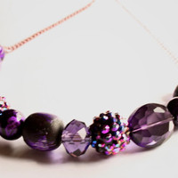 Vibrant Galactic Sparkle Purple and Black Glass and Wood Beaded Necklace on Pink Chain