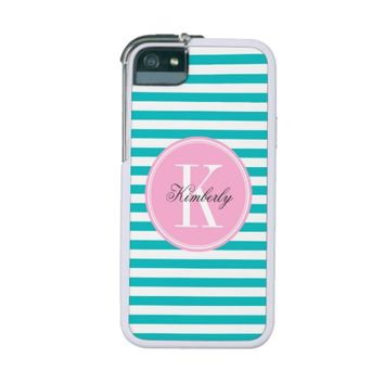 Teal Stripes with Bubblegum Pink Monogram