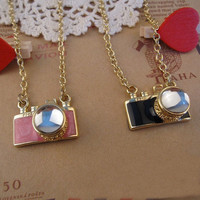 2pcs FM2 Black and pink camera crystal necklace