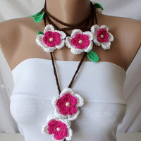 Handmade Crochet Colorful White, Fuschia and green, brown  Flower Lariat, Scarf, Necklace with glass pearl