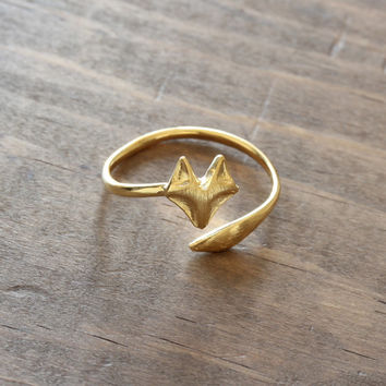 Gold plated fox ring adjustable