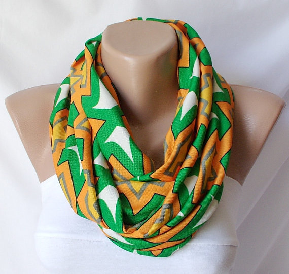 Orange, green, white chevron jersey cowl