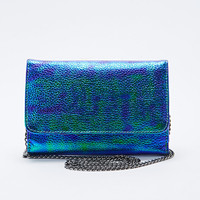 Deena & Ozzy Metallic Strap Wallet in Metallic Blue - Urban Outfitters