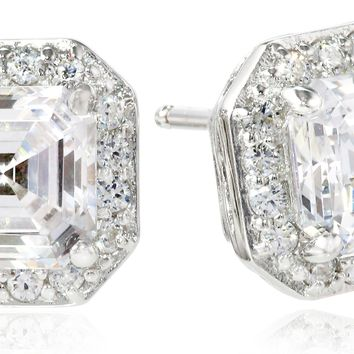 Platinum-Plated Sterling Silver and Asscher-Cut Swarovski Zirconia (1 cttw) Halo Earrings:Amazon:Jewelry