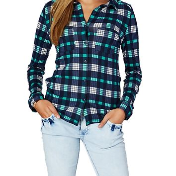 Turquoise Plaid Brushed Hacci Button Down