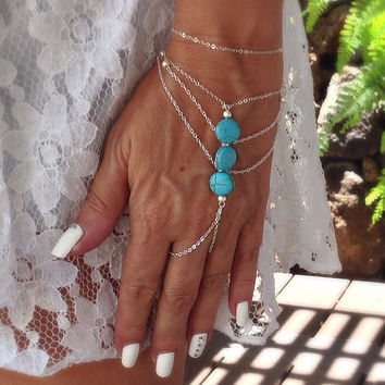 Hand jewelry, versatile can also be worn as a barefoot sandal, turquoise bracelet & ring, anklet,  ankle bracelet, slave bracelet, boho chic
