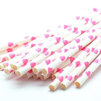B20 Paper Straw. Heart. Pink.