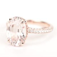 SALE - GIA Certified Huge Peach Pink Sapphire & Diamond Halo Engagement Ring 14K Rose Gold