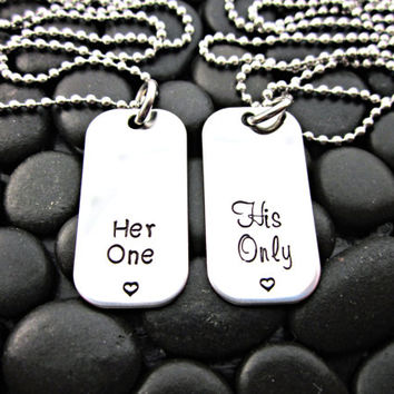 Her One / His Only - Couple's Mini Dog Tag Necklaces