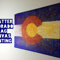 "16""x20"" Splatter Colorado Flag Canvas Painting"