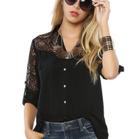 Papaya Clothing Online :: LACY ROLL UP BLOUSE