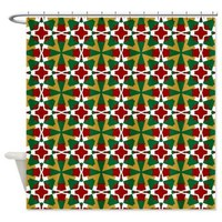 Decorative Red Green White Gold Shower Curtain> Ruby Red, Green, Gold and White> Shower Curtains