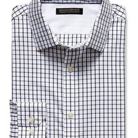 Tailored Slim-Fit Non-Iron Black Check Shirt