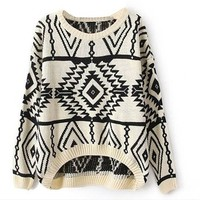 Vobaga Women's Long Sleeve Geometric Pullovers Sweater