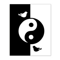 Ying Yang black and white print, printable, wall art, poster, birds, home decor, unique wall decor, ying yang decor, 8X10, instant download