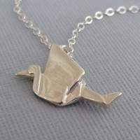 Origami Crane Necklace, Sterling Silver Crane Necklace, Origami Bird, Origami Jewelry, Crane Necklace