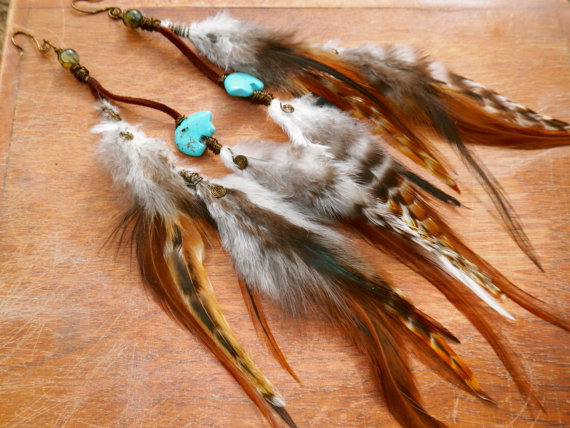 bear spirit... layered turquoise feather earrings