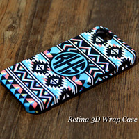 Ethnic Teal Striped Custom Monogram iPhone 6 Plus 5S 5 5C 4 Protective Case #931