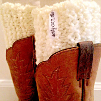 Knit Boot Cuff / White Knitted Boot Cuff / Knitted Boot Sock
