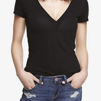 FITTED DEEP V-NECK TEE from EXPRESS