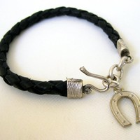 Horseshoe Wish Luck Black Leather Bracelet