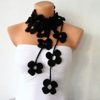 Black Flower Lariat Scarf Necklace