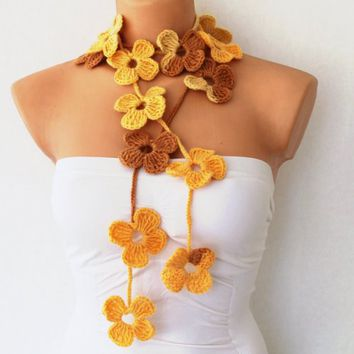 Yellow Orange Cream Flower Hand Crochet Lariat Scarf