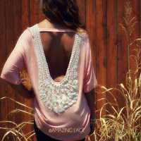 Summer Breeze Peach Crochet Back Tunic