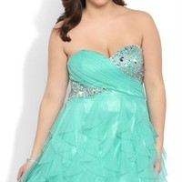 Plus Size Strapless Short Homecoming Dress with Tendril Skirt