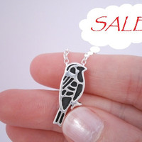 SALE - Sparrow Bird Totem Necklace Pendant - OOAK - One of a kind, Clearance, Fine Silver, Sterling silver