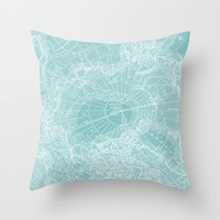 Teal Map Pillow Cover , vintage map velveteen Arctic, new cushion, pillow, dorm, room, throw pillow, map, travel
