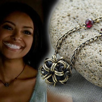 The Vampire Diaries / brass jewelry / garnet necklace / as seen on tv / Bonnie necklace