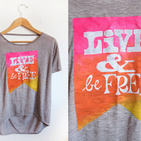 LIVE & Be FREE - Pennant Banner Hand Stenciled Deep Scoop Back Neck Heather Burnout Tee in Ash Brown with Neon Citrus Pink - S M L XL