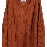 Sheinside Women Batwing Long Sleeve Pullovers Sweater (Free Size, Coffee)
