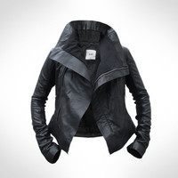 Womens Black Leather Biker Jacket by J.O.D UK 10