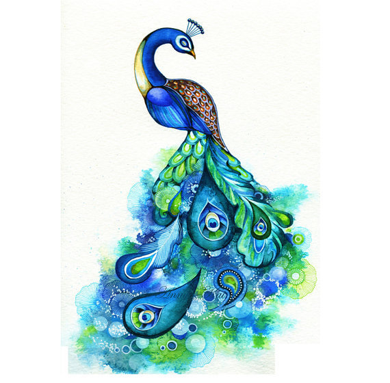 Peacock - Abstract Watercolor Fantasy from annya127 on Etsy