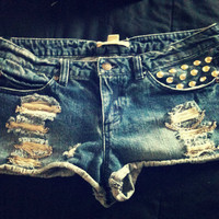 Upcycled Studded Chain Reaction Studded Shorty Shorts