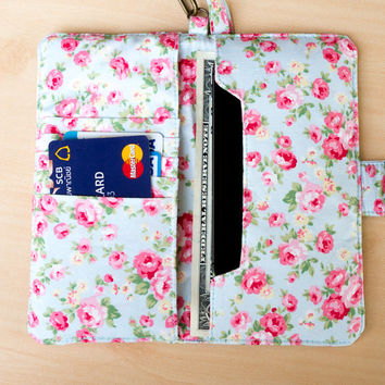 FLOWER IPHONE WALLET Design with Vintage Floral on Blue Purse Card Holder Sleeve Phone Wallet Samsung S3 S4 Galaxy Note 2 3 Wallet Pouch Bag