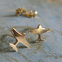 Tiny airplane stud earrings. Sterling silver or 14k gold filled. Artisan handmade travel posts. Minimalist. Textured or smooth finish.