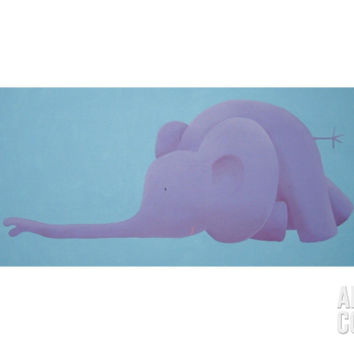 Sliding purple elephant Giclee Print by Astrid at Art.com