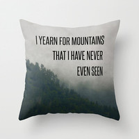 Mountain Yearning Quote Pillow Cover, Mountains Photo Pillow Case, Travel Typography Quote, Green and Gray Toss Pillow Cover