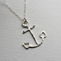 Sterling Silver Anchor Necklace on 18 inch Silver chain- Handmade by Rachel Pfeffer