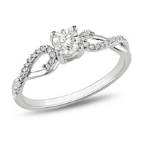 3/8 CT. T.W. Diamond Twine Engagement Ring in 10K White Gold